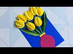 Basteln mit Papier How to make Tulip from paper Beautiful Handmade card . Beautiful Handmade Cards, Tulips, Presents, Jar, How To Make, Kids, Crafts, Party, Paper Cards