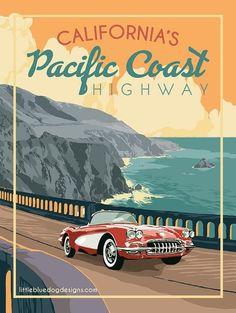 California Coast – Vintage Travel Poster - New Site