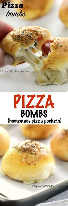 Ooey Gooey Pizza Bombs! Crispy crust loaded up with cheese and your fave toppings... move over pizza pockets... these take just 5 minutes of prep and taste so good!