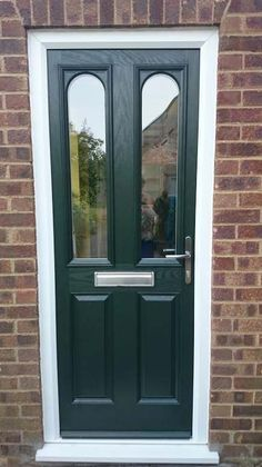 2 Panel 2 Arch Dark Green Glazed Composite Door Dressed with Chrome Furniture & Reflections Cheltenham Composite Front Door and Frame. £965.16 quote ...