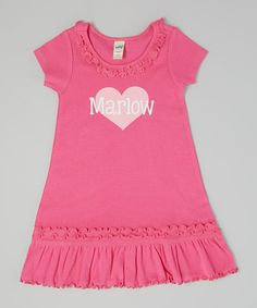 Look what I found on #zulily! Dark Pink Heart Personalized Dress - Infant, Toddler & Girls by Fly Duds #zulilyfinds