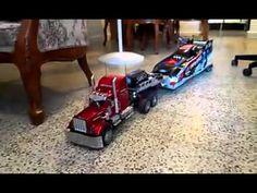 RC Volvo Big Truck Carrying a RC Model Race Car
