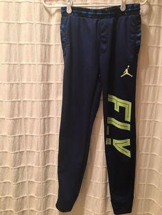15159158632599 Boys Nike Jumpman Jordan Therma-Fit Track Pants - Large - Blue Black