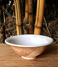 "Palm leaf bowl from Hawaii, Japanese ceramic stoneware, White Orange, Side dish serving bowl, Handmade pottery, 7 1/4""D x 2 3/4""H OOAK by AumakuaPottery on Etsy"