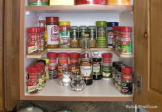 Spicy Shelf in wood creates storage for up to 36 spice containers and installs on you existing shelf pins.