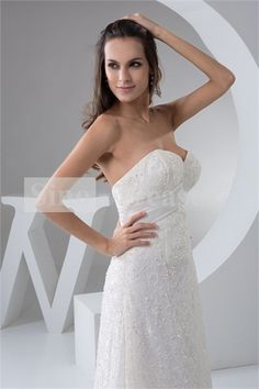 Ivory Lace Asymmetrical Zipper-back Sweetheart Wedding Dress 007