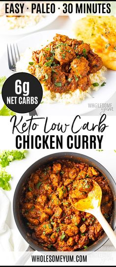 Keto Low Carb Curry Recipe - This flavorful keto chicken curry recipe is so EASY to make! You're just 10 ingredients and 30 minutes away from low carb coconut cream curry. # Easy Recipes low carb Coconut Curry Chicken: A Keto Low Carb Curry Recipe Ketogenic Recipes, Low Carb Recipes, Diet Recipes, Healthy Recipes, Smoothie Recipes, Ketogenic Diet, Crockpot Recipes, Recipes Dinner, Breakfast Recipes