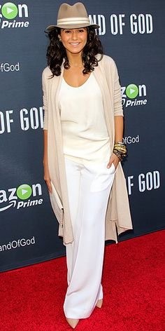Last Night's Look: Love It or Leave It? Vote Now! | EMMANUELLE CHRIQUI | in a cream blouse, beige long sweater and white wide-leg trousers at the premiere of Hand of God in L.A.