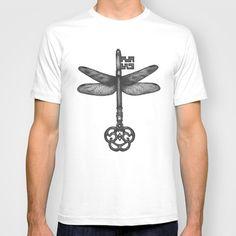 Dragonfly Key T-shirt by Sara Elan Donati - $22.00 #society6 #tshirt #print #key #dragonfly #dotwork