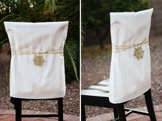 Pillow cases and ribbon give chairs an awesome update for holidays and special occasions :)