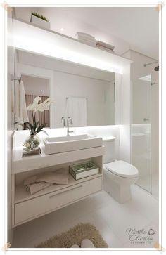 Pra que limitar o espelho na bancada? Espelho horizontal com iluminação indireta!: