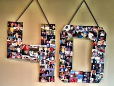 """40"" Birthday Photo Collage -- So much fun, and the absolute conversation piece of my husband's 40th birthday party."