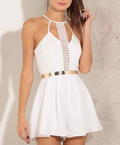 lace romper, white jumpsuit, gold belt romper, embroidered rompers - Lyfie