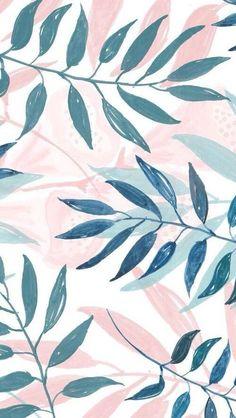 Phone & Celular Wallpaper : blush and blue leaf pattern