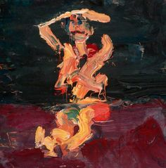 """""""Frank Auerbach (UK b. 1931) Seated Figure with Arms Raised (1973) oil on board 31 x 30.5 cm """""""