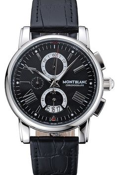 Replica Mens MontBlanc Chronograph Black Dial Silver Stainless Steel Case And Bezel Watch With Black Leather Strap