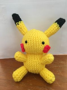 Hand made crochet Pikachu Pokemon doll by SimplyMeant2Be on Etsy https://www.etsy.com/listing/486581060/hand-made-crochet-pikachu-pokemon-doll