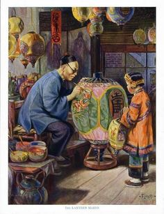 LANTERN MAKER Print 1930s - Chinese Man Painting Lantern - Child Watching FLOHRI