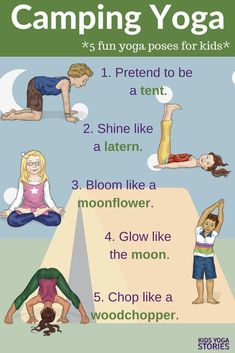 , 25 Camping Yoga Ideas plus free printable! Also camping inspired book ideas and much more. Enjoy the joys of camping from the comfort of your own home. , 25 Camping Yoga Pose Ideas for Kids (Printable Poster Poses Yoga Enfants, Yoga Poses For Men, Cool Yoga Poses, Yoga Poses For Beginners, Camping Activities For Kids, Camping With Kids, Camping Ideas, Motor Activities, Rv Camping