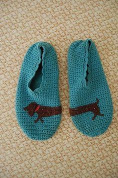felt dog applique on crochet slippers