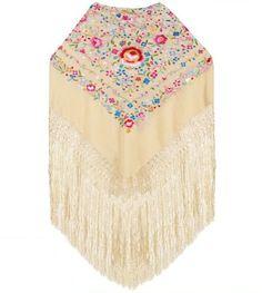 Chipiona: Natural Silk Shawl, Hand Embroidery.