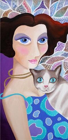 Rezzan Ganiz I Love Cats, Crazy Cats, She And Her Cat, Local Painters, Cuban Art, People Art, Fauna, Art Images, Here Kitty Kitty