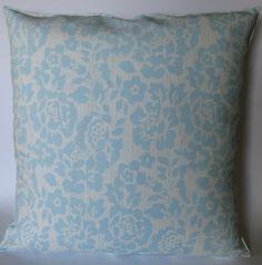 Light Blue Floral Pillow Cover 18 X 18 by mrsmateerdesign on Etsy, $15.00