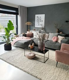Kleur in each interior is really iets toe. hoe je dat doet, lees je here Living Room Grey, Living Room Interior, Home Living Room, Apartment Living, Living Room Designs, Living Room Decor, Living Room Ideas, Decorate Apartment, Living Room Inspiration