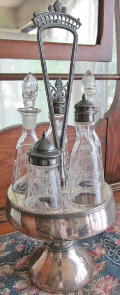 Stunning Antique Victorian Silver Plate 6pc Cut Glass Cruet Condiment Set NICE #RockfordSilverCo
