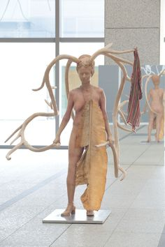 "Bharti Kher, ""Warrior with Cloak and Shield"", 2008, fiberglass, banana leaf dipped in resin, cotton, stainless steel"