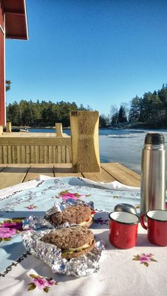 Picnic on a quay. Archipelago of Finland. Early spring.