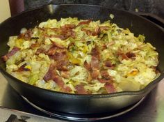 Ingredients strips of bacon 1 head cabbage, sliced 1 onion, diced ¼ cup chicken broth (I use low sodium broth) 1 tsp vinegar (optional) ½ tsp salt ¼ tsp pepper Directions In large skillet, (I use cast iron) fry the bacon until crispy, Fried Cabbage Recipes, Cabbage And Bacon, Sweetie Pies Cabbage Recipe, How To Fry Cabbage, Grilled Cabbage, Baked Cabbage, Vegetable Side Dishes, Vegetable Recipes, Vegetable Ideas