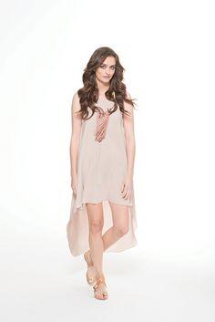 Hem vest dress in cream