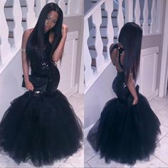 Sparkly Black Girls Mermaid African Prom Dresses Long