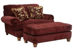 "Belmont Collection 4347-01 2663-34/2678-34 62"" Chair and a Half with Chenille Fabric Upholstery Reversible Box Welted Seat Cushion and Two Pillows in Claret"