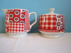 Red Gingham Patchwork Cream and Sugar Set...Made in 1930s...by GingerNIrie, $12.00