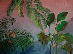 Rose et bleu paysage tropical - illustration - giclée