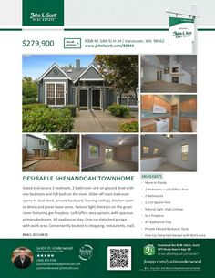 Just Listed! Real Estate for Sale: $279,900-2+ Bd/2 Ba Desirable Ground Level Two Story Turn-Key Ready Shenandoah Townhouse in Gated Community at: 9008 NE 54th St, Vancouver, Clark County, WA! Area 21. RMLS 20116813. Listing Broker: Justin Underwood (360) 333-5706, John L Scott, Vancouver, WA! #realestate #justlisted #vancouverrealestate #shenandoah #shenandoahcommunity #townhouse #gatedcommunity #twobedroom #twostory #groundlevel #justinunderwood #johnlscott