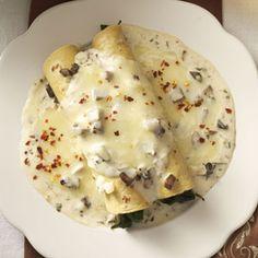 Spinach Mushroom Enchiladas Recipe from Taste of Home -- shared by Evangeline Bradford of Erlanger, Kentucky