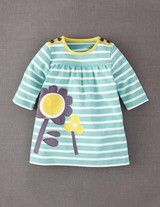 Appliqué Jersey Dress (Powder Blue/Flower            )