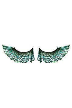 Grüne Federn-Augenwimpern - Baci Lingerie
