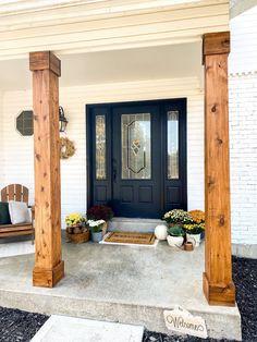 Wood Columns Porch, Front Porch Pillars, Front Porch Posts, House Columns, Porch Wood, Front Porch Design, Diy Exterior Columns, Cedar Porch Posts, Back Porch Designs