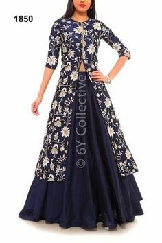 Navy Blue Floral Embroidery Achkan Style Lengha ,Indian Dresses - 1