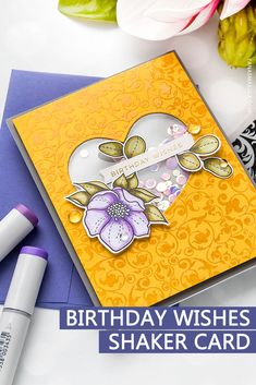 Create a beautiful Birthday Shaker Card using stamps, embossing powder and markers. Handmade greeting card by Yana Smakula for Simon Says Stamp Handmade Birthday Cards, Happy Birthday Cards, Birthday Wishes, Handmade Greetings, Greeting Cards Handmade, 1st Birthday Girl Decorations, Acetate Cards, Copic Sketch Markers, Embossing Powder