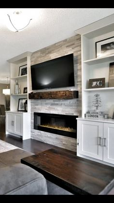What I DONT want - bookcases sticking out farther than the fireplace. - What I DONT want – bookcases sticking out farther than the fireplace. Feature Wall Living Room, Living Room Built Ins, Living Room Tv, Living Room Remodel, Home And Living, Feature Walls, Fireplace Built Ins, Home Fireplace, Living Room With Fireplace