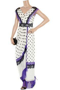 Polka-dot silk-chiffon gown by Alberta Ferretti