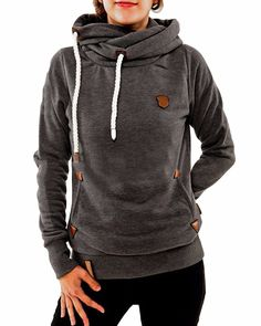 ZANZEA Women Long Sleeve High Necked Pockets Pullover Hoodies Sweatshirts Coats ** This is an Amazon Affiliate link. Continue to the product at the image link.