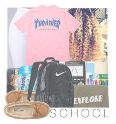 """S C H O O L"" by w-on-der-lan-d ❤ liked on Polyvore featuring Michael Kors, Mead, Casetify, Paper Mate, Minnetonka, Izola and NIKE"
