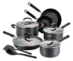 Tfal C037SC OptiCook Hard Anodized ThermoSpot Scratch Resistant Titanium Nonstick Oven Safe PFOA Free Cookware Set 12Piece Black * See this awesome image @
