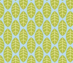 leaves in blue fabric by mytinystar on Spoonflower - custom fabric